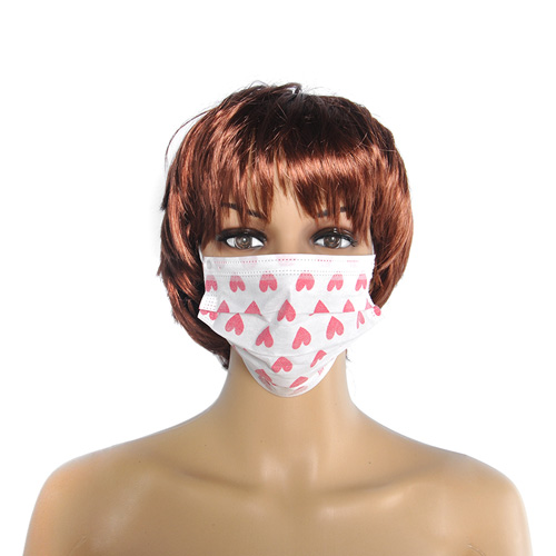 Disposable Face Mask Heart Printed