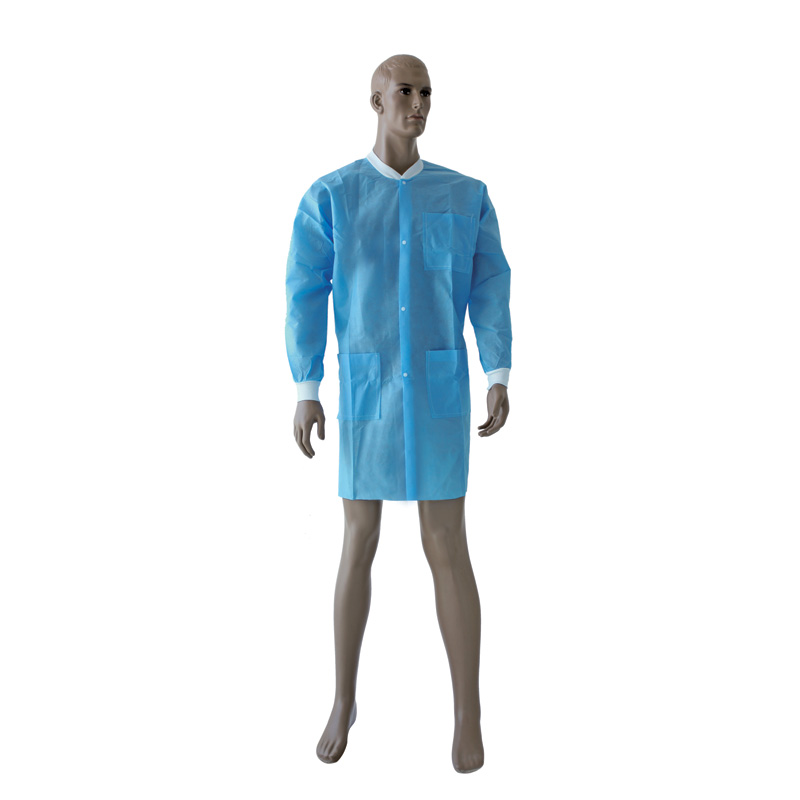 Knitted Collar and Cuff Non-woven Lab Coat